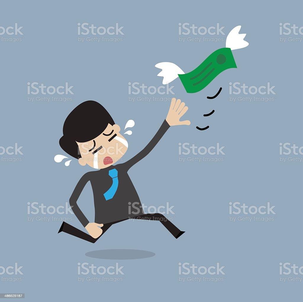 Money is flying away from businessman vector art illustration