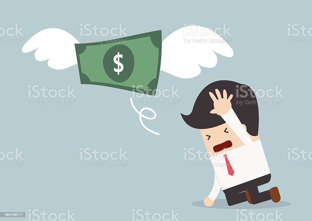 Money is flying away from sadness businessman vector art illustration
