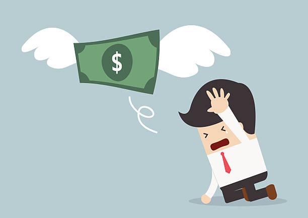 illustrations, cliparts, dessins animés et icônes de l'argent est à volant de tristesse homme d'affaires - inflation