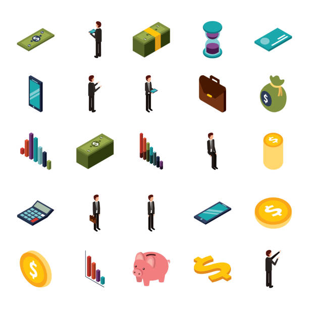 sistema isométrico dinero del negocio de los iconos - ilustración de arte vectorial
