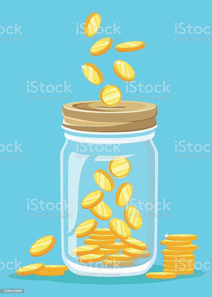 Money Jar. Saving dollar coin in jar. Flat design style vector art illustration