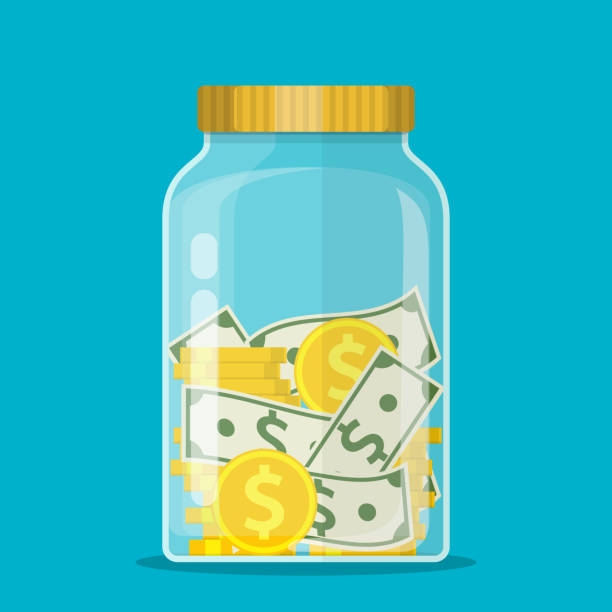 ilustrações de stock, clip art, desenhos animados e ícones de money jar. saving dollar coin in jar. - save money