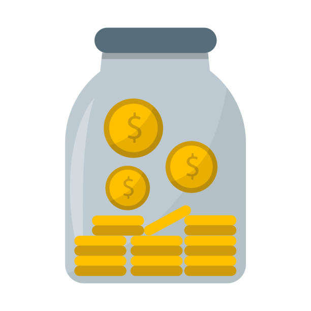 stockillustraties, clipart, cartoons en iconen met geld jar vectorillustratie - thaise munt