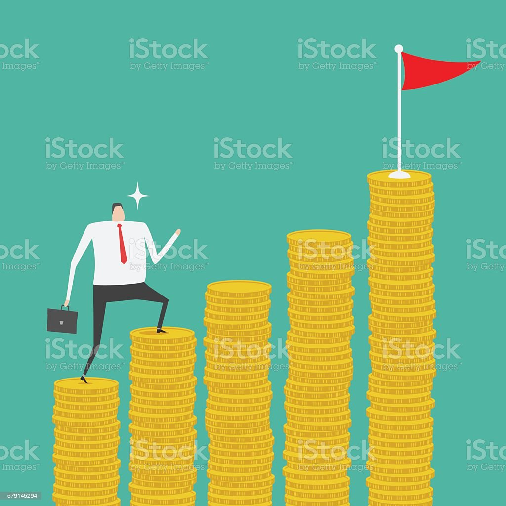 Money ladder vector art illustration