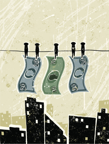 Money Laundering, Bank Notes Pegged on to a Washing Line