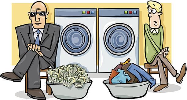 マネー・ローンダリング漫画イラストレーション - 楽しい 洗濯点のイラスト素材/クリップアート素材/マンガ素材/アイコン素材