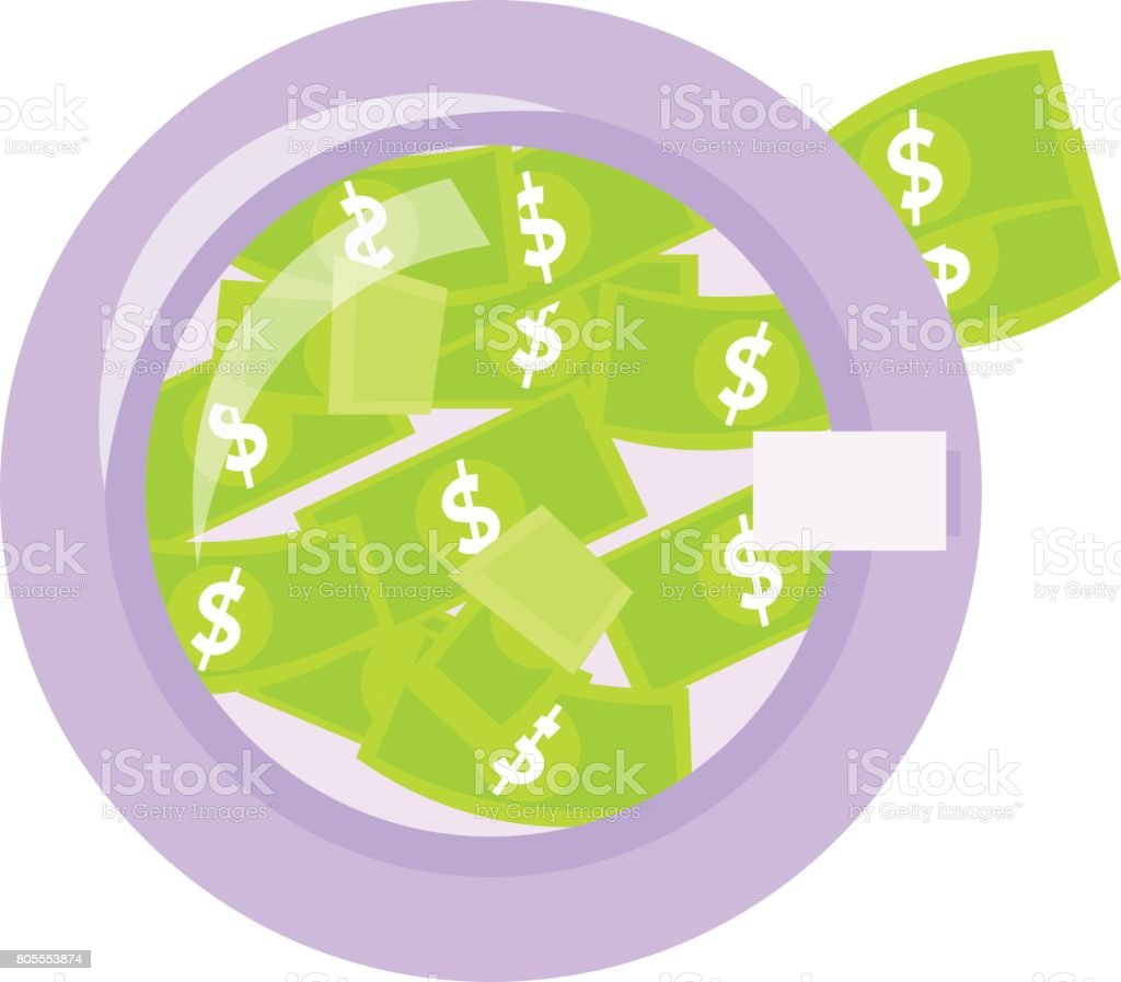 Money laundering in washing machine illustration royalty-free stock vector art