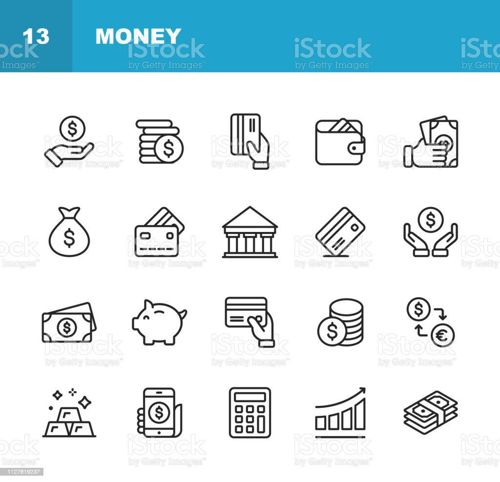 Money Line Icons. Editable Stroke. Pixel Perfect. For Mobile and Web. Contains such icons as Money, Wallet, Currency Exchange, Banking, Finance. Outline Icon Set. ATM stock vector