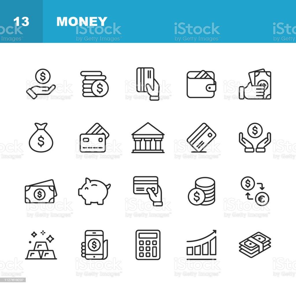 돈 선 아이콘입니다. 편집 가능한 선입니다. 픽셀 완벽 한입니다. 모바일과 웹. 환전, 은행, 금융, 돈, 지갑 같은 아이콘을 포함 되어 있습니다. - 로열티 프리 계산기 벡터 아트