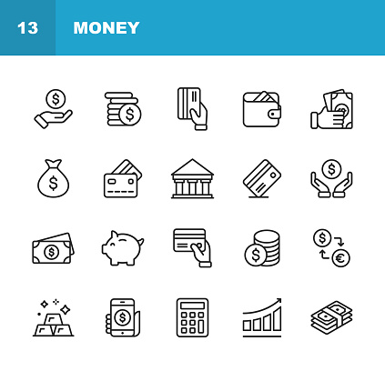 Money Line Icons. Editable Stroke. Pixel Perfect. For Mobile and Web. Contains such icons as Money, Wallet, Currency Exchange, Banking, Finance. clipart