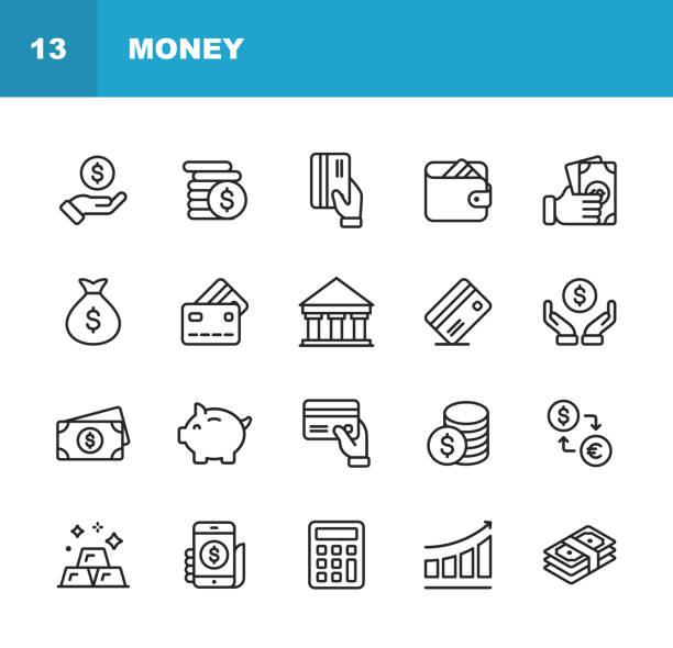 geld-linie-icons. editierbare schlaganfall. pixel perfect. für mobile und web. enthält ikonen wie geld, brieftasche, wechselstube, banking, finance. - konsum stock-grafiken, -clipart, -cartoons und -symbole