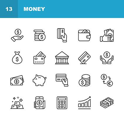 돈 선 아이콘입니다 편집 가능한 선입니다 픽셀 완벽 한입니다 모바일과 웹 환전 은행 금융 돈 지갑 같은 아이콘을 포함 되어 있습니다 계산기에 대한 스톡 벡터 아트 및 기타 이미지