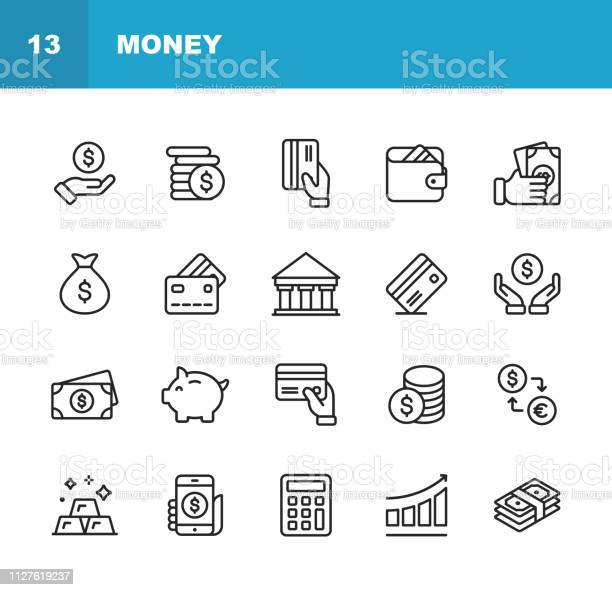 Money Line Icons Editable Stroke Pixel Perfect For Mobile And Web Contains Such Icons As Money Wallet Currency Exchange Banking Finance Stock Illustration - Download Image Now