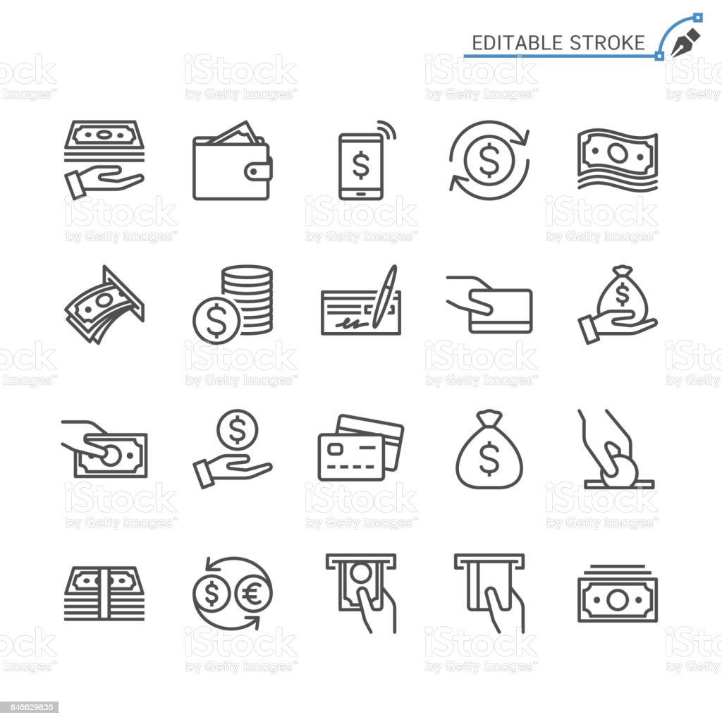 Money line icons. Editable stroke. Pixel perfect. Simple vector line Icons. Editable stroke. Pixel perfect. ATM stock vector