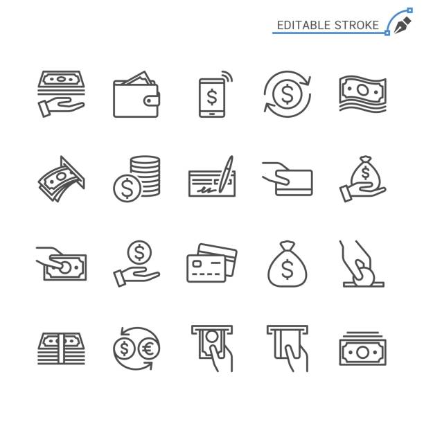 money line icons. editable stroke. pixel perfect. - banknot stock illustrations
