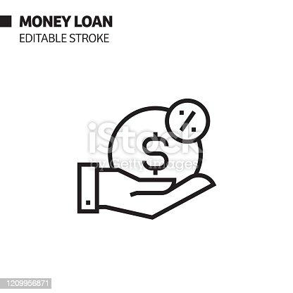 istock Money Loan Line Icon, Outline Vector Symbol Illustration. Pixel Perfect, Editable Stroke. 1209956871