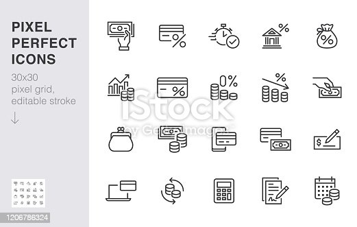 Money loan line icon set. Credit score, low interest, discount card, mortgage percent, tax minimal vector illustration. Simple outline signs for bank application. 30x30 Pixel Perfect Editable Strokes.
