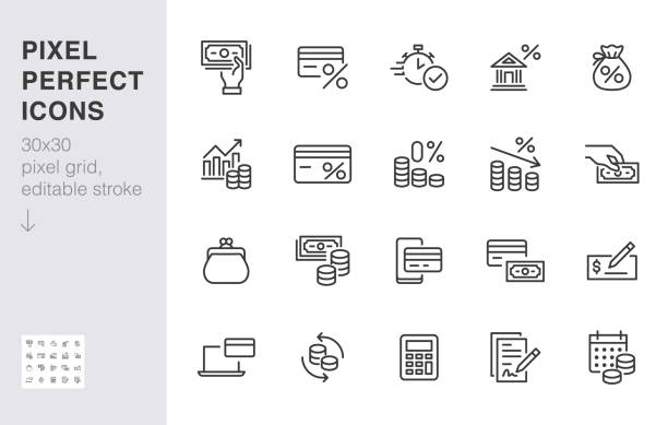Money loan line icon set. Credit score, low interest, discount card, mortgage percent, tax minimal vector illustration. Simple outline signs for bank application. 30x30 Pixel Perfect Editable Strokes Money loan line icon set. Credit score, low interest, discount card, mortgage percent, tax minimal vector illustration. Simple outline signs for bank application. 30x30 Pixel Perfect Editable Strokes. debt stock illustrations