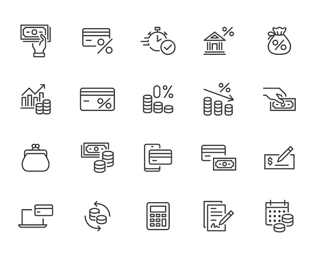 Money loan line icon set. Credit score, low interest, discount card, mortgage percent, tax minimal vector illustration. Simple outline signs for bank application. Pixel Perfect, Editable Strokes.