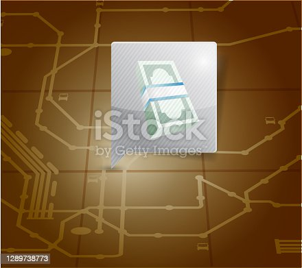 Money locator on a map. illustration design over a white background