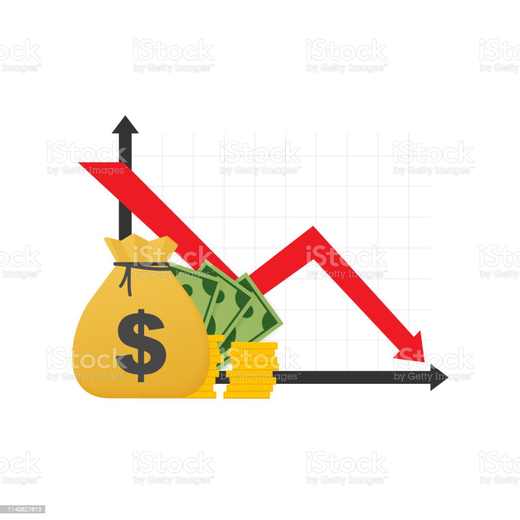 Money loss. Cash with down arrow stocks graph, concept of financial crisis, market fall, bankruptcy. Vector illustration. Money loss. Cash with down arrow stocks graph, concept of financial crisis, market fall, bankruptcy. Vector stock illustration. Arrow Symbol stock vector