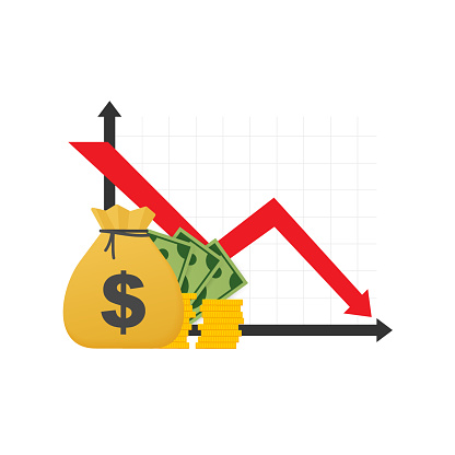 Money Loss Cash With Down Arrow Stocks Graph Concept Of Financial Crisis Market Fall Bankruptcy Vector Illustration Stock Illustration - Download Image Now