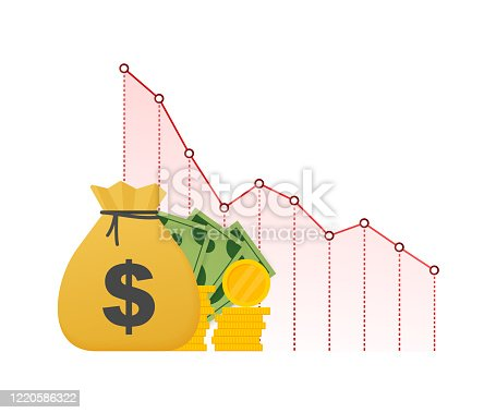 istock Money loss. Cash with down arrow stocks graph, concept of financial crisis, market fall, bankruptcy. Vector stock illustration. 1220586322