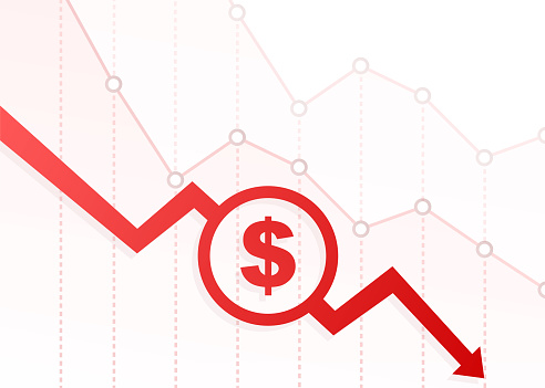 Money loss. Cash with down arrow stocks graph, concept of financial crisis, market fall, bankruptcy. Vector stock illustration