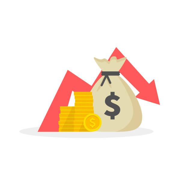 money loss, down arrow stocks graph, concept of financial crisis, market fall. vector illustration. - evil money stock illustrations, clip art, cartoons, & icons