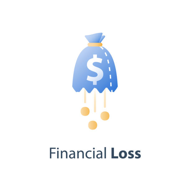 Money loss, sunken cost concept, lack of finance, stock market fall, investment hedge fund, wealth devaluation, income decrease Sunken cost concept, money loss, debt increase, lack of finance, stock market fall, investment hedge fund, wealth devaluation, income decrease, high risk, vector icon devaluation stock illustrations