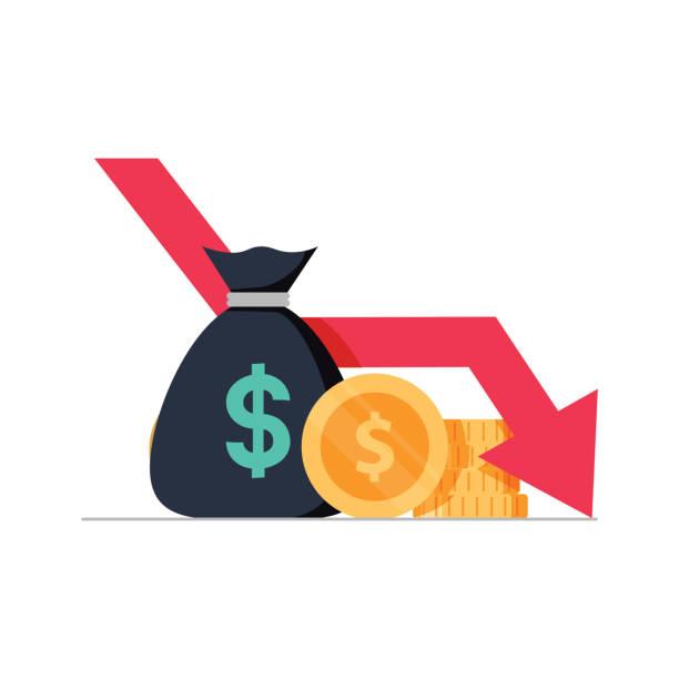 ilustrações, clipart, desenhos animados e ícones de ilustração em vetor perda dinheiro, dinheiro dos desenhos animados plana com gráfico de estoques de seta, conceito de crise financeira, mercado cair - economia