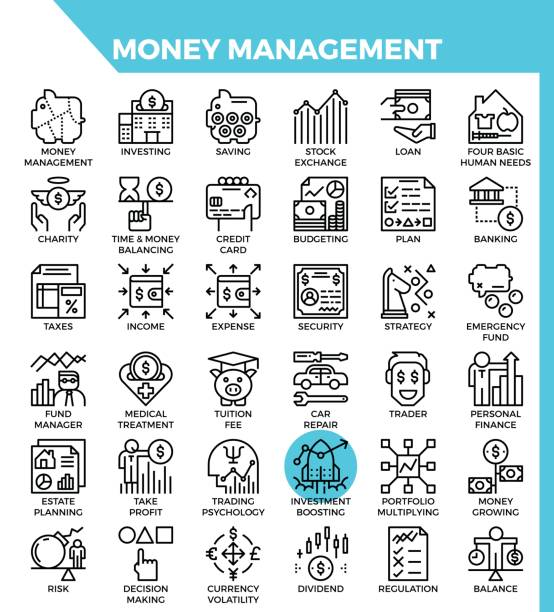 Money management icons vector art illustration