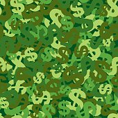 Dollar symbol seamless pattern. CMYK EPS8 vector illustration with global colors.