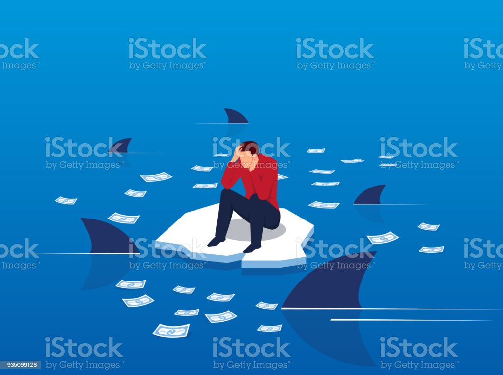 Money on the sea surrounded by sharks vector art illustration
