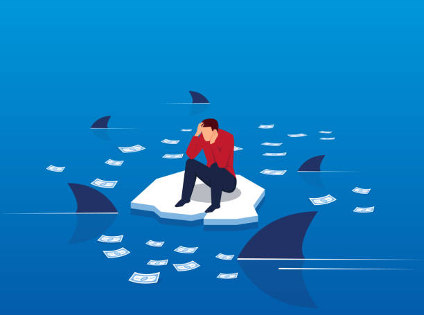 money on the sea surrounded by sharks - anxiety stock illustrations, clip art, cartoons, & icons