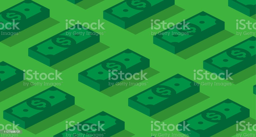 Money or finance green background with 3d dollar banknotes pattern. Money or finance green pattern with 3d dollar banknotes. Banking, cashback, payment, e-commerce. Vector background. Currency stock vector
