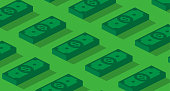 Money or finance green pattern with 3d dollar banknotes. Banking, cashback, payment, e-commerce. Vector background.
