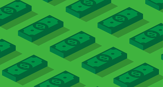 Money Or Finance Green Background With 3d Dollar Banknotes Pattern Stock Illustration - Download Image Now