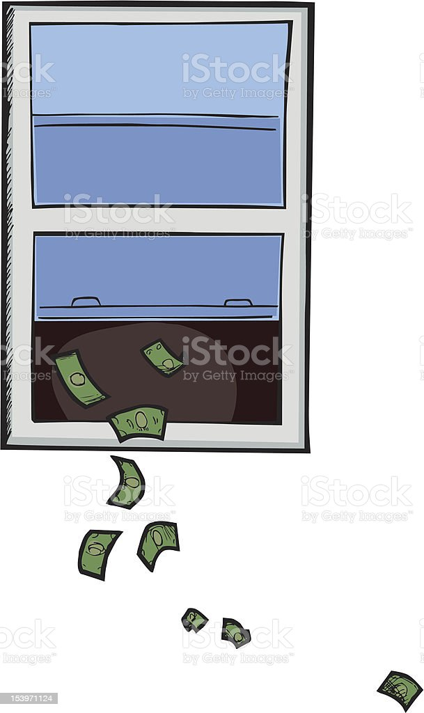 Money Out The Window vector art illustration