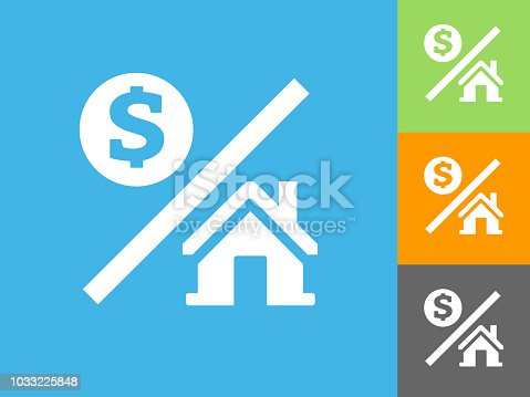 Money over House Flat Icon on Blue Background. The icon is depicted on Blue Background. There are three more background color variations included in this file. The icon is rendered in white color and the background is blue.