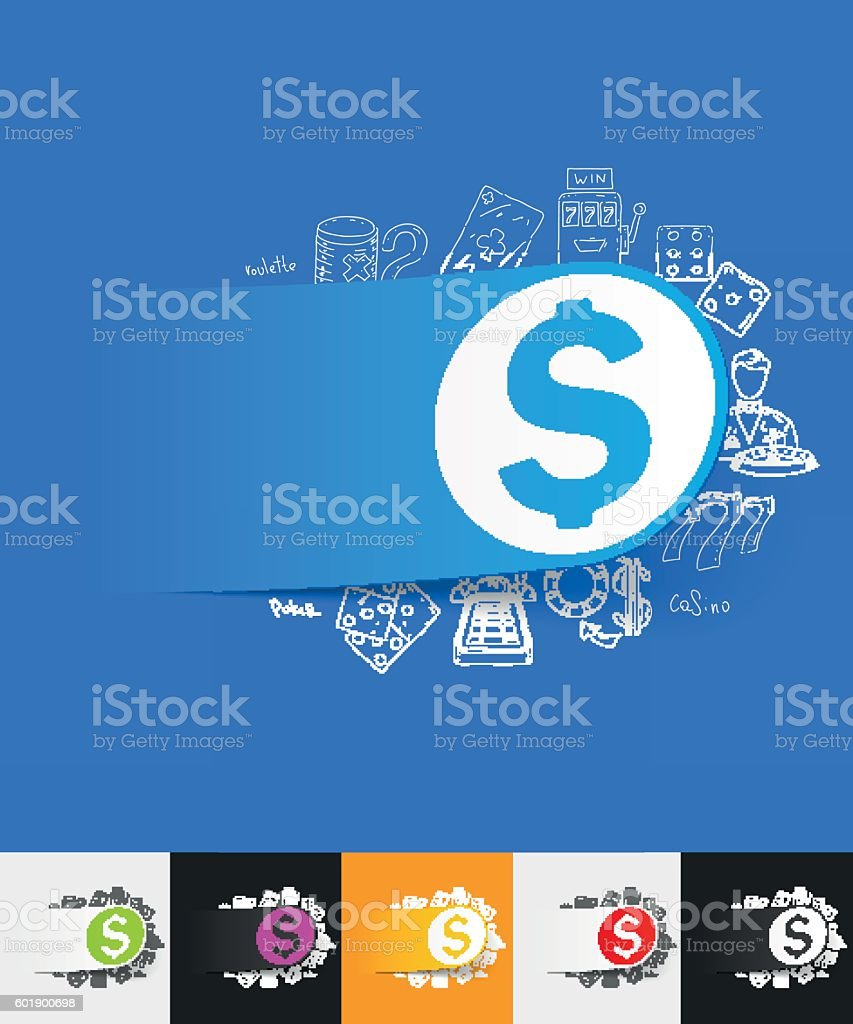 money paper sticker with hand drawn elements vector art illustration