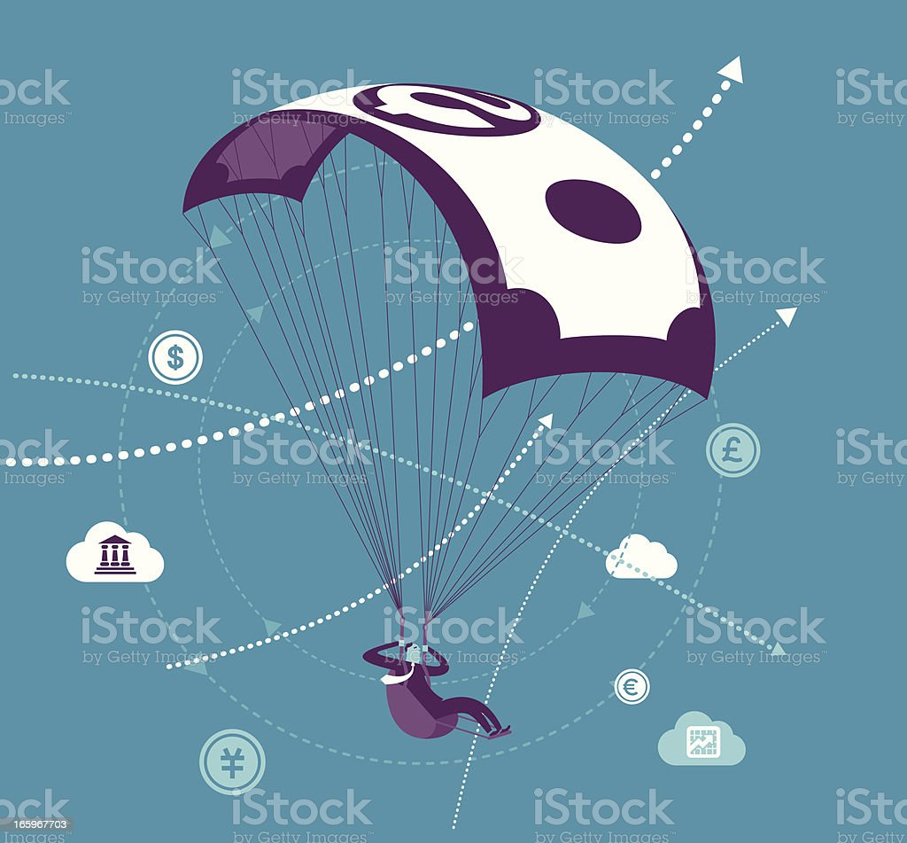 Money Parachute royalty-free stock vector art