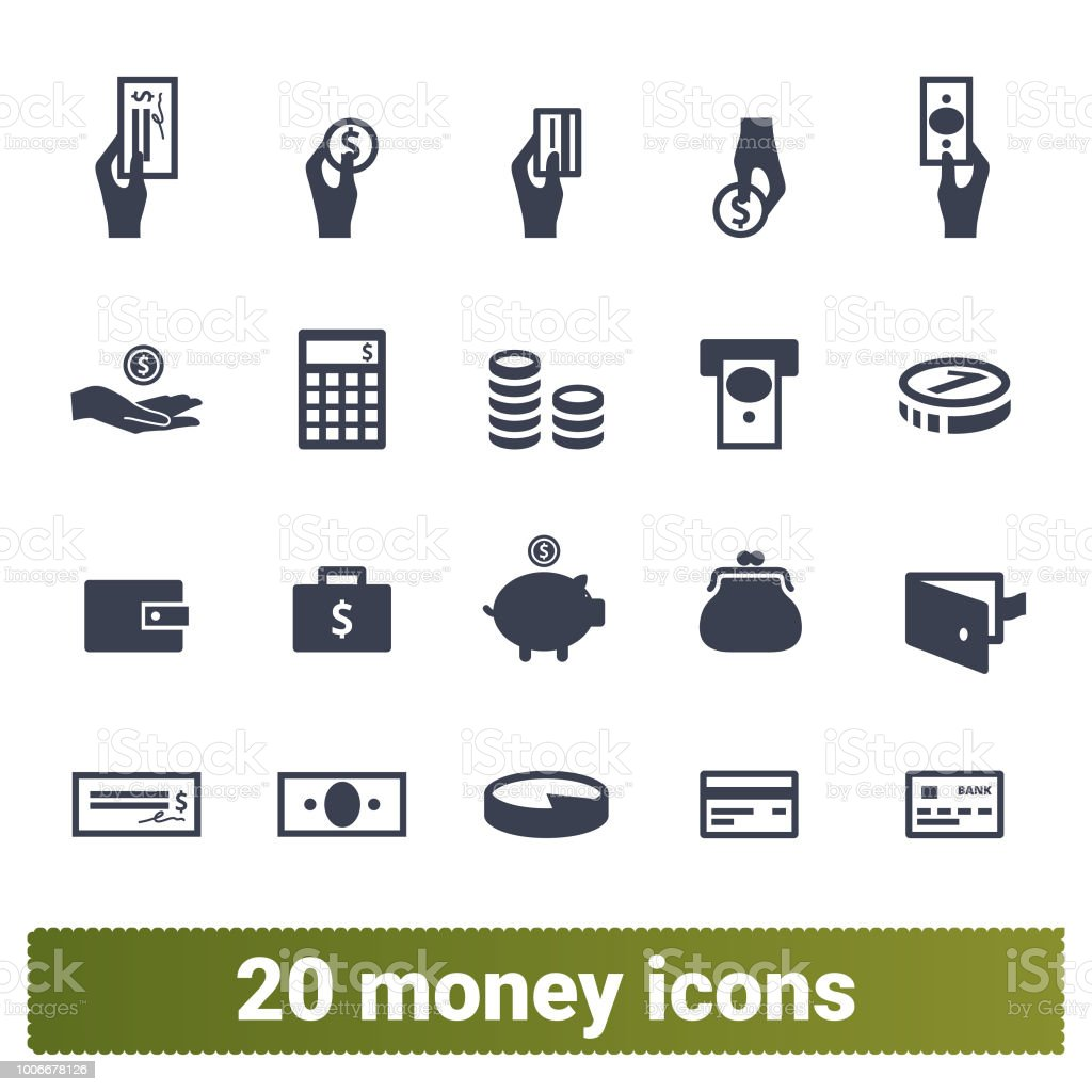 Money Payment And Financial Business Icons Set Money payment, finance and banking vector icons set. Money making, financial business and services, analytics, accounting symbols collection. Isolated on white background. ATM stock vector