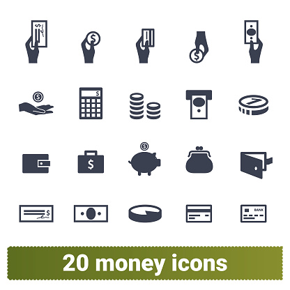 Money Payment And Financial Business Icons Set Stock Illustration - Download Image Now