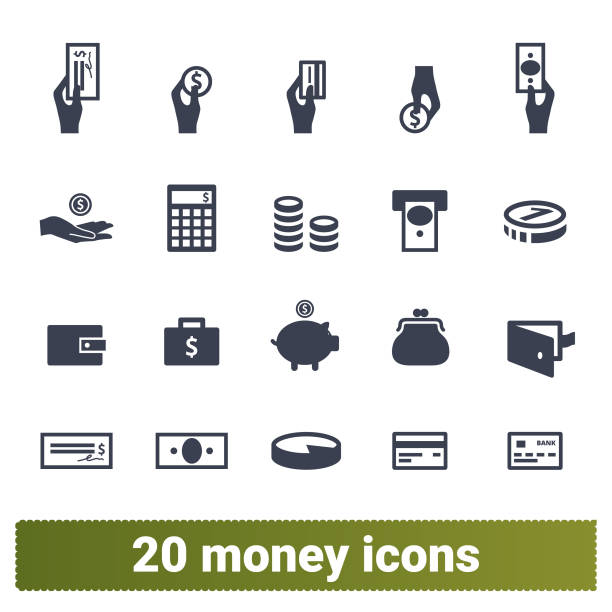 Money Payment And Financial Business Icons Set Money payment, finance and banking vector icons set. Money making, financial business and services, analytics, accounting symbols collection. Isolated on white background. security equipment stock illustrations