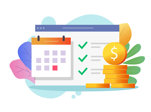 Money payment date schedule or agenda in calendar vector flat cartoon, illustrated tasks list and cash schedule alert notification, idea of tax or credit loan pay time, budget or financial plan image