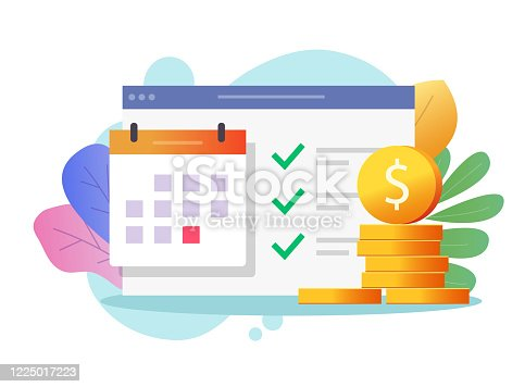 istock Money payment date schedule or agenda in calendar vector flat cartoon, illustrated tasks list and cash schedule alert notification, idea of tax or credit loan pay time, budget or financial plan image 1225017223