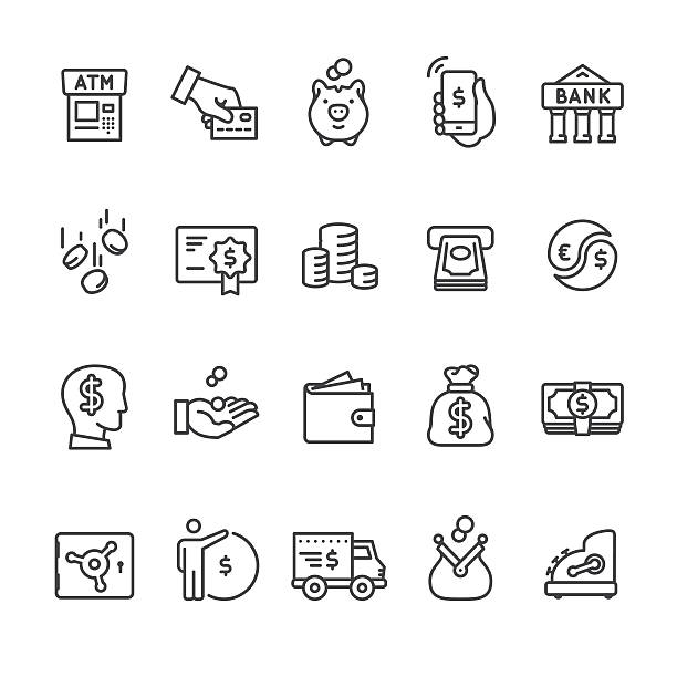 Money & Payment vector icons Money & Payment related vector icon set. change purse stock illustrations