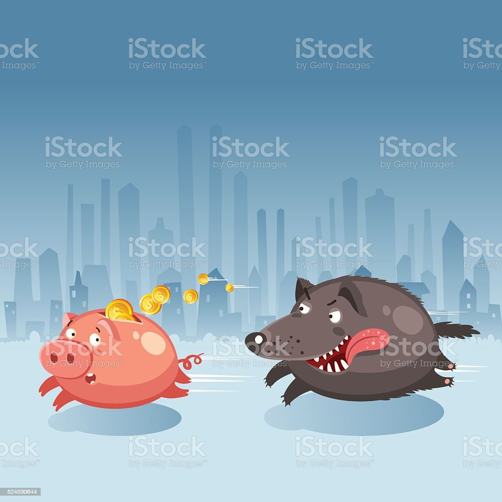 Money piggy bank running away from evil wolf vector art illustration