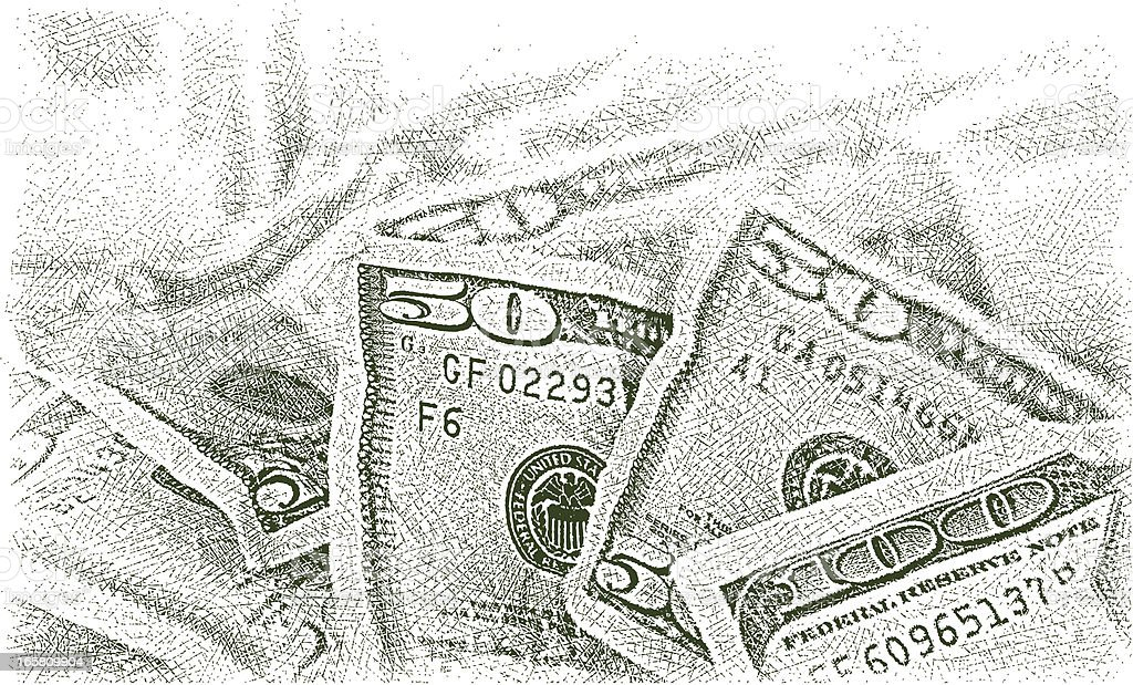 Money Pile $50 Dollar Bills vector art illustration